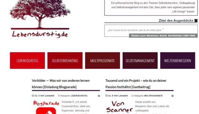 Blogparade auf lebensdurstig.de